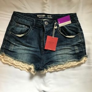 Adorable Mossimo high rise shorts with lace trim
